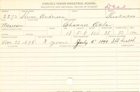 Homer Anderson Student Information Card
