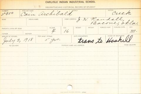 Cain Archibald Student Information Card