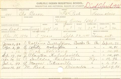 George Bacon Student Information Card