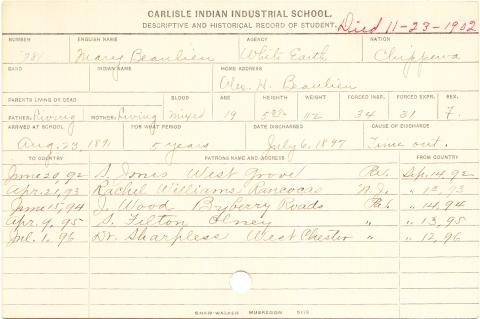 Mary Beaulieu Student Information Card