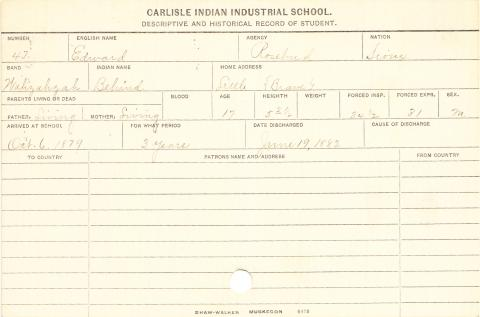 Edward (Behind) Student Information Card