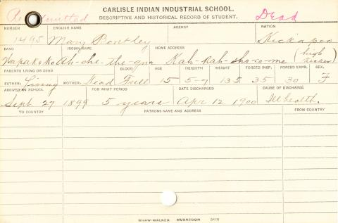 Mary Bentley (Ah-che-the-qua) Student Information Cards