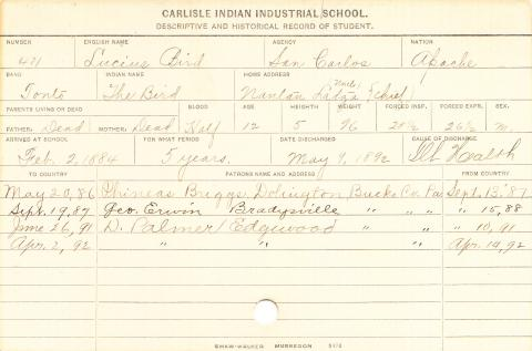 Lucius Bird Student Information Card