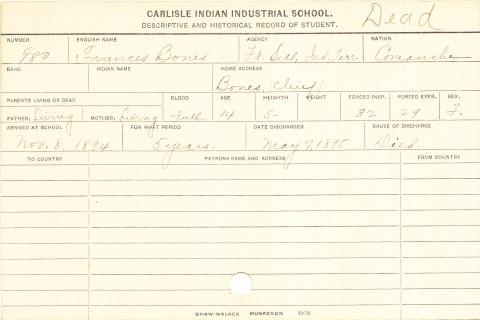 Frances Bones Student Information Card