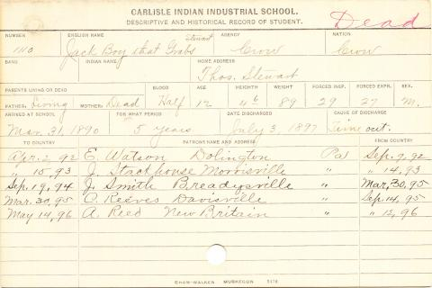 Jack Stewaert (Boy That Grabs) Student Information Card