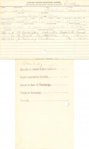 Solomon Brown (Hearing His Voice) Student Information Card