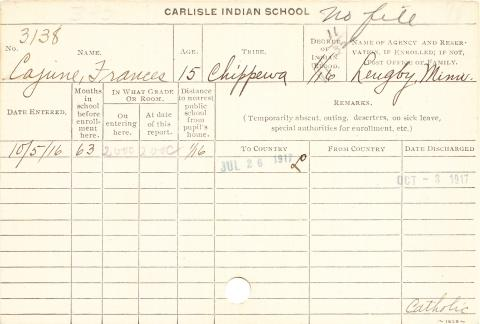 Frances Cajune Student Information Card