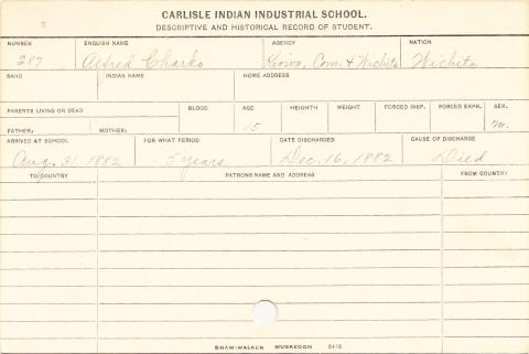 Alfred Charko Student Information Card