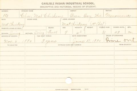 Charles Mat Chickeny Student Information Card
