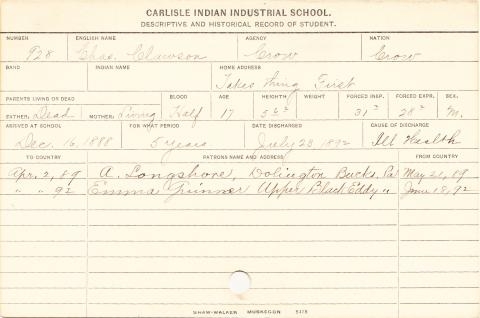 Charles Clawson Student Information Card