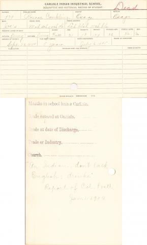 Roscoe Conkling (Moh sah o nah she) Student Information Card
