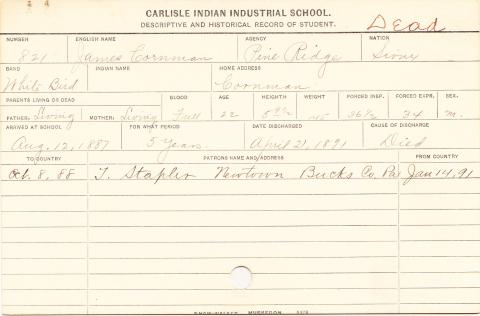 James Cornman Student Information Card