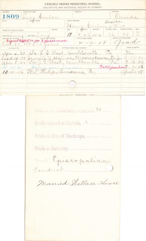 Lucy Coulon Student Information Card