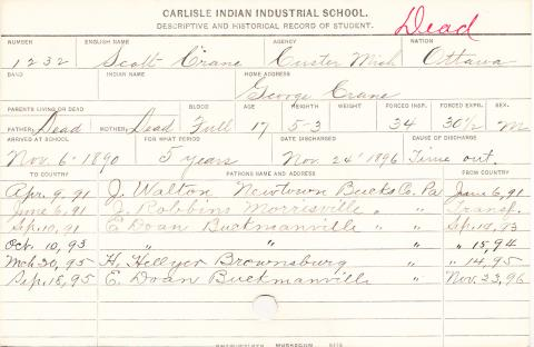 Scott Crane Student Information Card
