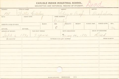 Willie Curley Student Information Card