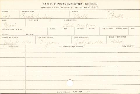Frank Cushing Student Information Card