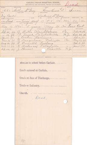 Arthur DeGray Student Information Card