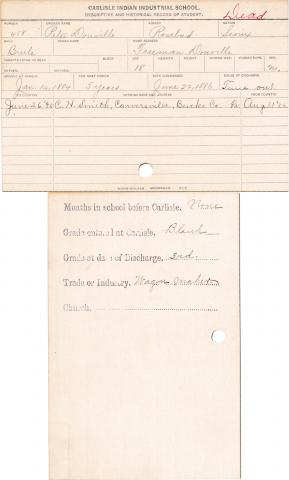 Peter Douville Student Information Card