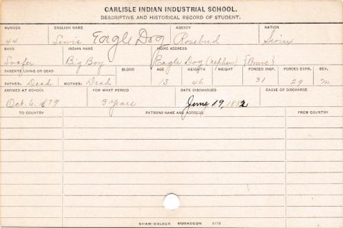 Louis Eagle Dog (Big Boy) Student Information Card