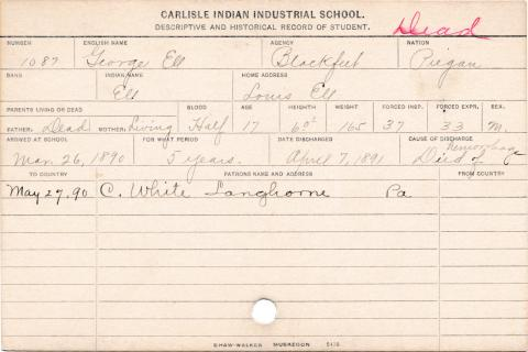 George Ell (Ell) Student Information Card