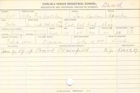 Ada Fox Catcher (In-nah-ilth-tah hoze du) Student Information Card