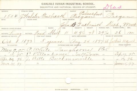 J. Webster Galbreath Student Information Card