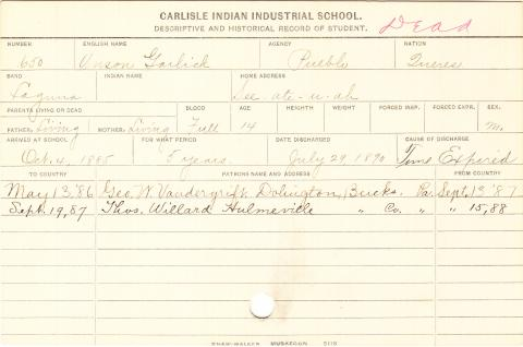 Anson Garlick Student Information Card