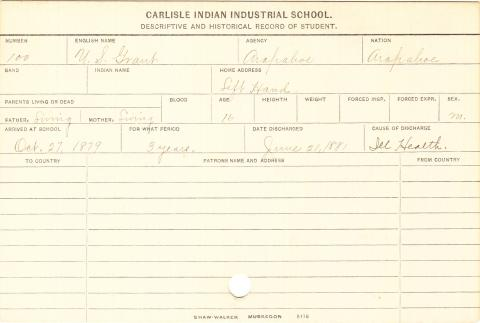 U. S. Grant Student Information Card