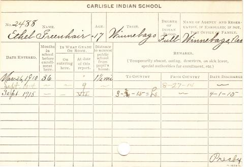 Ethel Greenhair Student Information Card