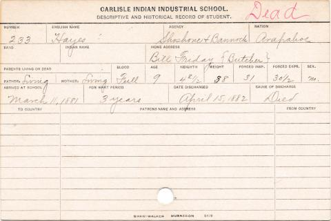 Hayes (Little Plume) Student Information Card