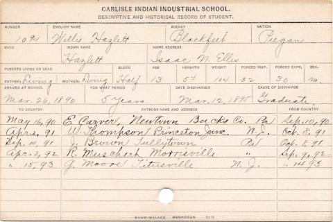William Hazlett (Hazlett) Student Information Card