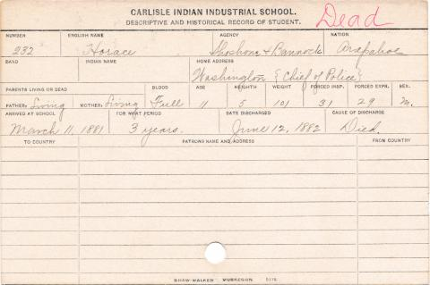 Horace Student Information Card