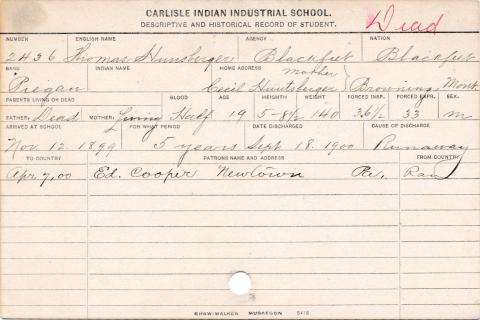 Thomas Hunsberger Student Information Card