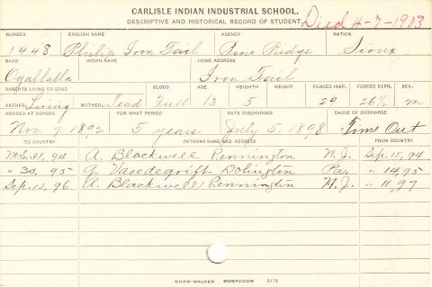 Philip Iron Tail Student Information Card