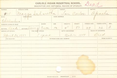 Maggie Iahanetha Student Information Card
