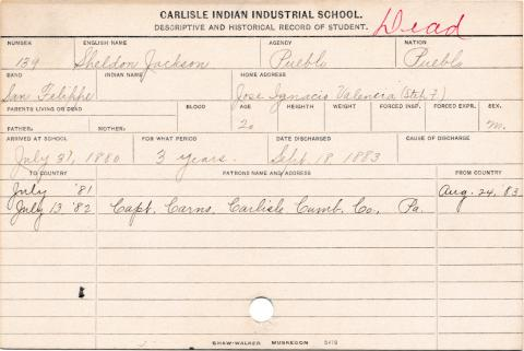 Sheldon Jackson Student Information Card