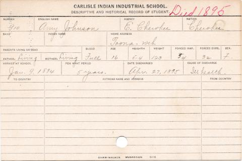 Amy Johnson Student Information Card