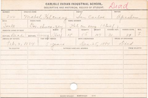 Mabel Kelcusay (Gos-cheese-zey) Student Information Card