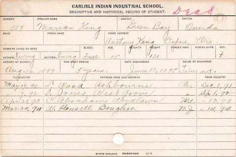 Marian King Student Information Card