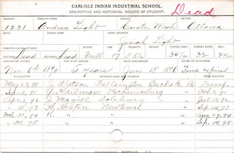 Andrew Light Student Information Card