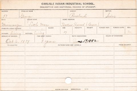 George (Little Man) Student Information Card