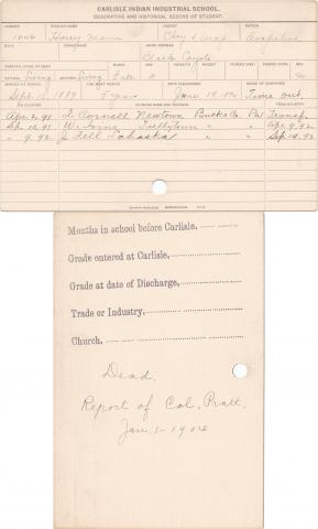 Harry Mann Student Information Card