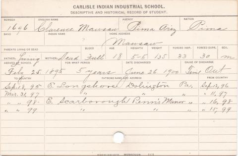 Clarence Mawsaw Student Information Card