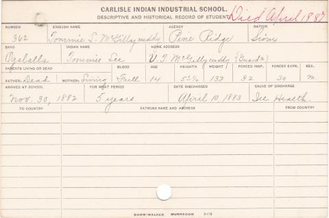 Tommie L. McGillycuddy (Tommie Lee) Student Information Card
