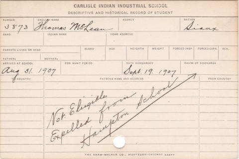 Thomas McLean Student Information Card