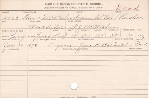 Devore McMahon (Mack DeVore) Student Information Card