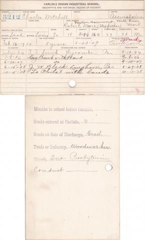 Charles Mitchell Student Information Card