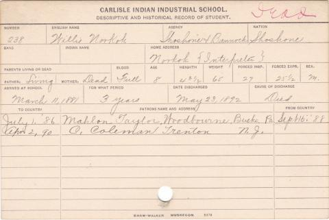 Willie Norkok Student Information Card