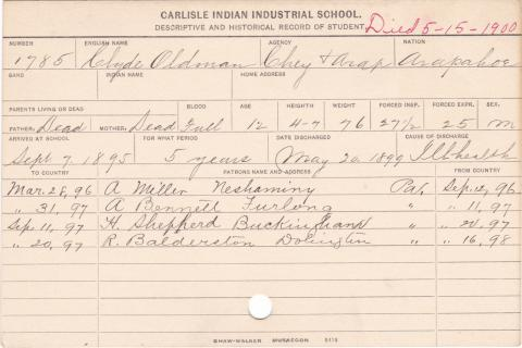 Clyde Oldman Student Information Card