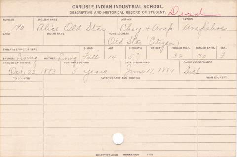 Alice Old Star Student Information Card
